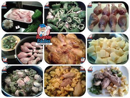 Recetas Fáciles de Muslos de Pollo con Pimientos Verdes y Ajos