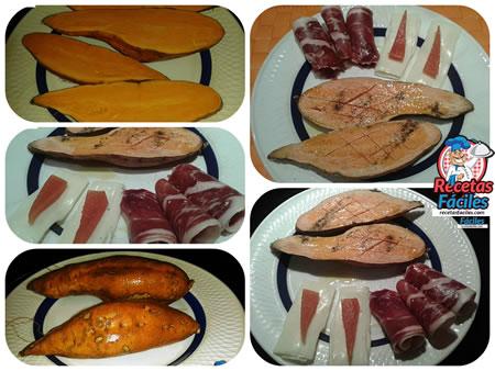 Recetas Fáciles de Batatas Asadas con Jamon de Jabugo, Queso y Mem