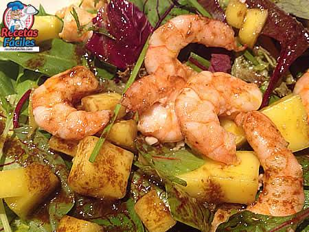 recetas fciles de ensalada de langostinos mango y frutos secos