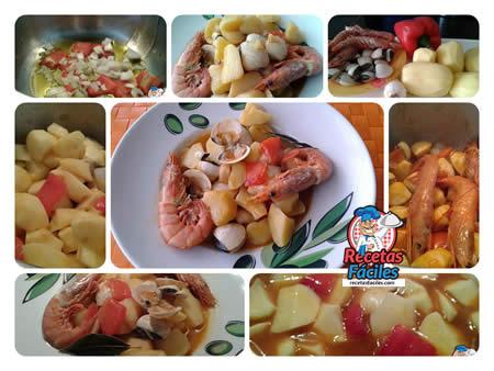 Recetas Fáciles de Guiso de Patatas con Almejas y Gambones