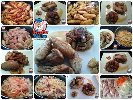 Receta Fáciles de Guiso de Alitas de Pollo con Cebolla, Pimiento y Patatas