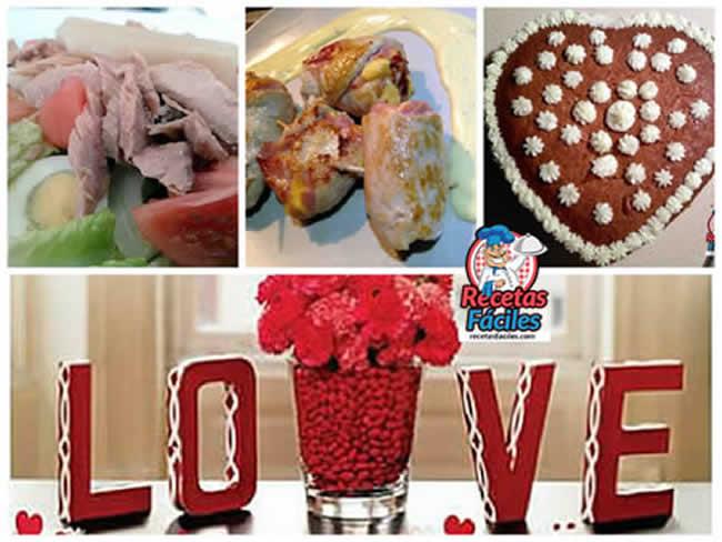 Men cena d a de los enamorados for Platos para una cena romantica