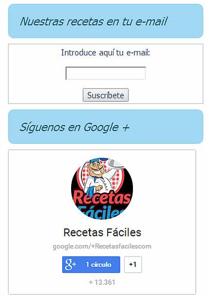 Recetas Fáciles suscripción de recetas por correo