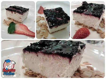 Recetas Fáciles de Tarta de Queso con Crema de Arándanos