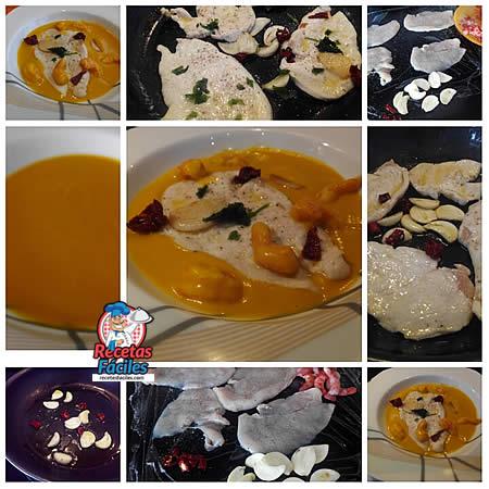 Recetas Fáciles de Filetes de Pollo sobre Crema de Calabaza y Gambas Rojas