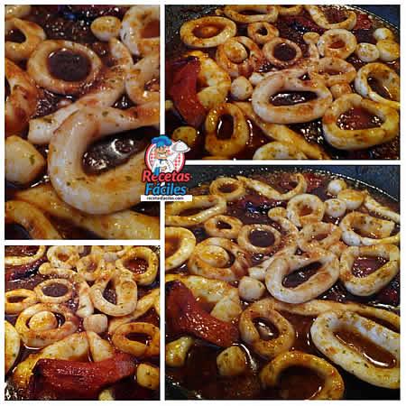 Recetas Fáciles de Guiso de Calamar con Salsa de Tomate