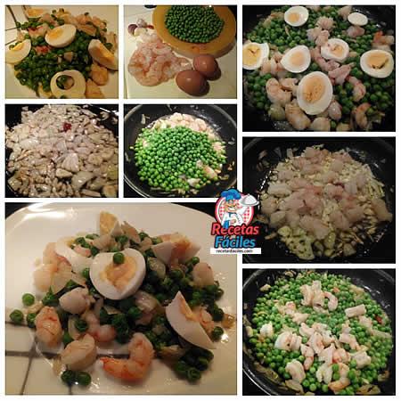 Receta guisantes con gambas y huevo