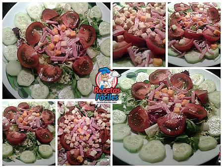 Recetas Fáciles de ensalada de pepino, Tomate, jamón de york, queso