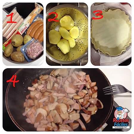 Recetas Fáciles de Tarta Salada de Patatas, Salchichas y Bacón con Masa Brisa