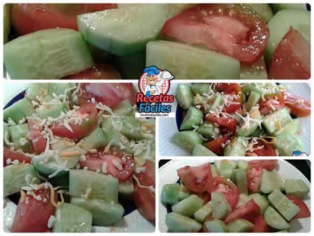 Recetas Fáciles de Ensalada de Pepino Holandés con Tomate y Queso