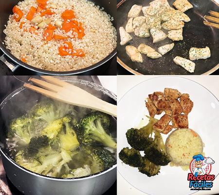 resumen de arroz con pollo y brocoli